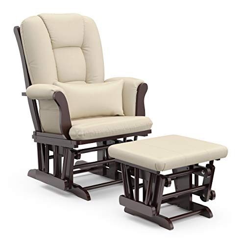 Storkcraft Tuscany Custom Glider and Ottoman with Free Lumbar Pillow, Espresso/Beige