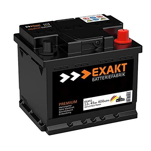 EXAKT Autobatterie 12V 45Ah Starterbatterie PKW KFZ Auto Batterie (45Ah)