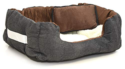 EYEPOWER Katzenbett Hundebett 50x45x18 cm Katzenkissen Hundekissen Waschbar Tierkissen Tierbett Innenkissen Braun-Weiß