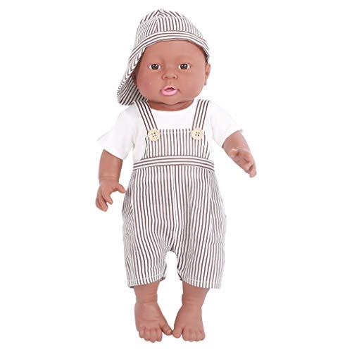 41cm Lebensgroße Realistische Vinyl Neugeborene Babypuppe Mit Kleidung - Junge, Dunkle Haut