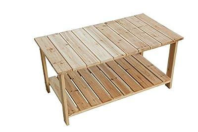 LOKATSE HOME Outdoor Coffee Table Natural Wood Patio Furniture with 2-Shelf Storage Organizer, Adirondack