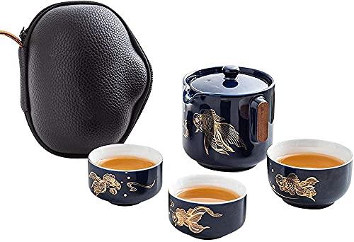 Juego de té de viaje chino Kung Fu de cerámica incluye 1 olla 3 tazas tetera portátil hecha a mano con bolsa de té para hotel de negocios picnic