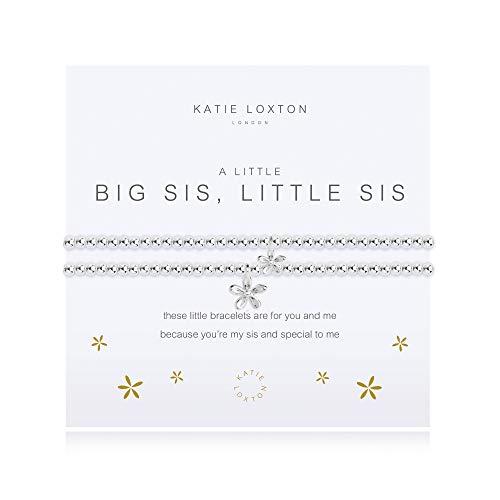 Katie Loxton A Little Big Sis Little Sis Silver Women's Stretch Adjustable Charm Bangle Bracelet Set of 2