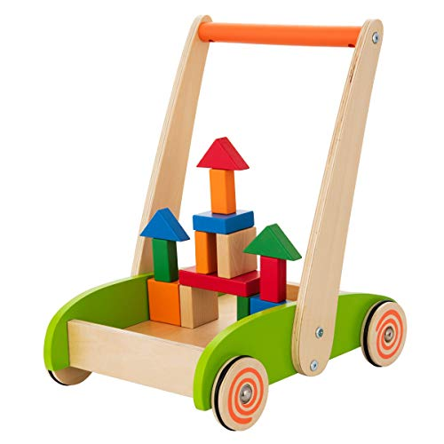 KIDDERY TOYS Sit-to-Stand Learning Walker – Wooden Baby Toy Walkers – 1 Year Old Toddler Push Walking Toys – Colorful Building Blocks – Stimulate Creativity & Motor Skills – Practical Rubber Protects