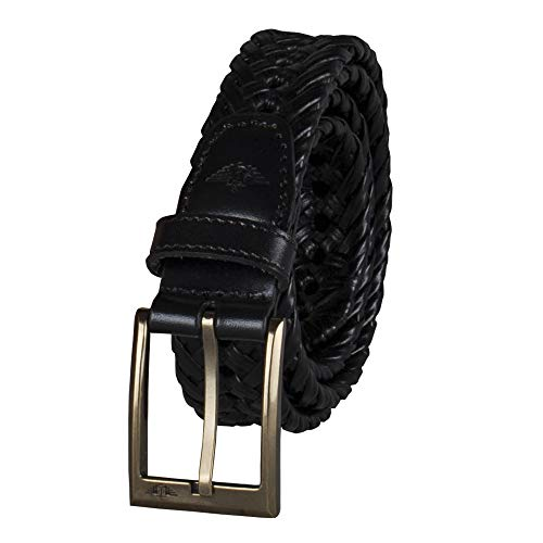 Dockers Men's Leather Braided Casual and Dress Belt,Black,36