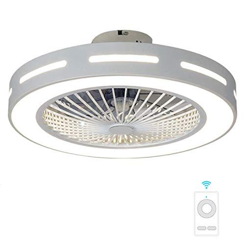 """Fan ceiling light Lxn Luz del Ventilador De Techo De Cristal Sala De Estar Control Remoto Invisible Ventilador De Techo Dormitorio Lámpara De Atenuación Silenciosa, Blanco, Diámetro 22"""" / 56 cm"""