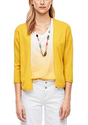 s.Oliver RED Label Damen Kurze Jacke aus Feinstrick Yellow 36