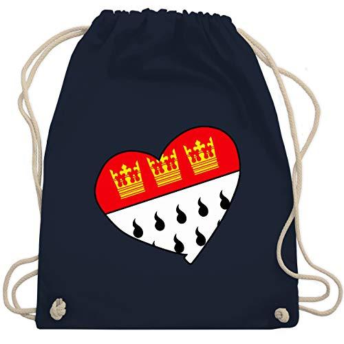 Shirtracer Karneval & Fasching - Köln Wappen Herz - Unisize - Navy Blau - köln turnbeutel - WM110 - Turnbeutel und Stoffbeutel aus Baumwolle