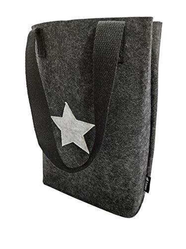 Tebewo Handtasche, Shopping Bag aus Filz, verschließbare Einkaufs-Tasche mit Henkel, Einkaufskorb, Faltbare, vielseitige Tragetasche (dunkelgrau)