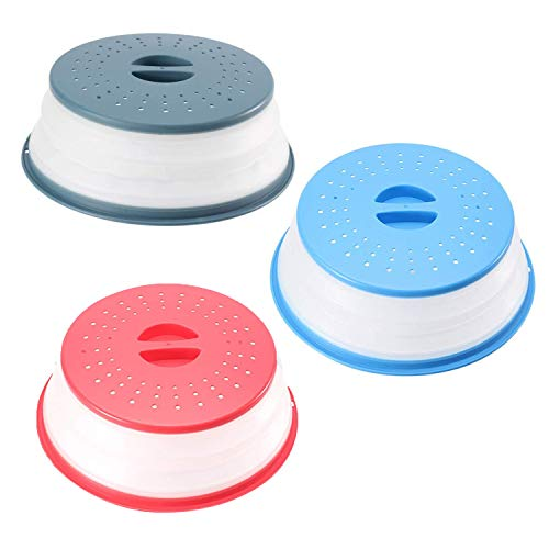 3-Pack Collapsible Microwave Splatter Proof Food Plate Cover Non-Toxic, BPA-Free Silicone & Plastic and Dishwasher Safe 10.6 inch Round (Red、 Blue、Ink-blue)