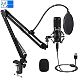 USB Condenser Microphone, IKEDON 192KHZ/24Bit Plug & Play PC Streaming Mic, USB Microphone Kit with...