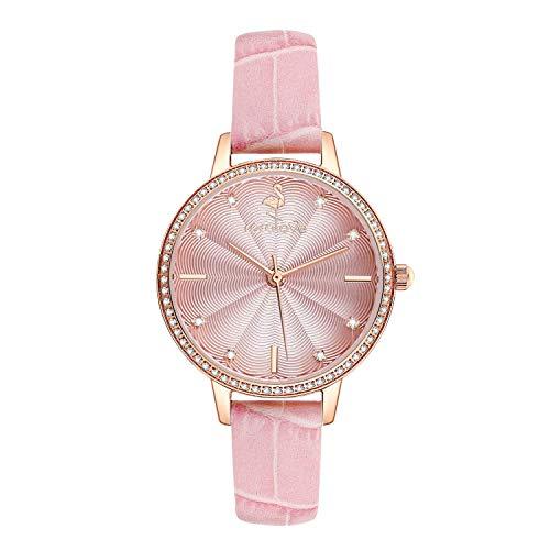 ROROLOVE 8 Real Diamonds Ladies Watch Reloj de Pulsera de Cuarzo Resistente al Agua con Correa de Cuero (Rosa)