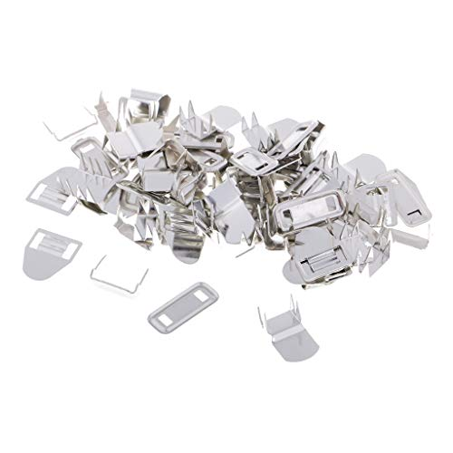 F Fityle 20 Sets Hosenhaken und Öse Hakenknöpfe Knöpfe für Hosen Rock Kleidung Näharbeit - Silber