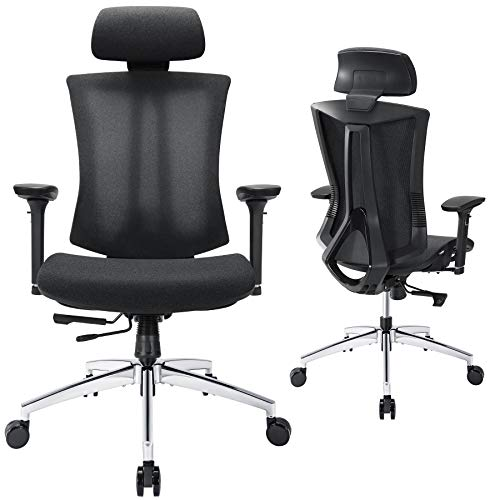Ergonomic Mesh Office Chair, Tribesigns Home Office Chair with Sliding Seat, High Back Desk Chair with Lumbar Support, Fully Adjustable Backrest and 3D Armrest, Headrest, Black