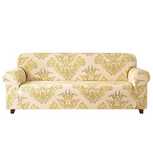 subrtex Sofabezug mit Muster Blumen Stretch Sofahusse Elastisch Sesselhusse mit Armlehne Couch überzug Abwaschbar (3 Sitzer, Gelb)