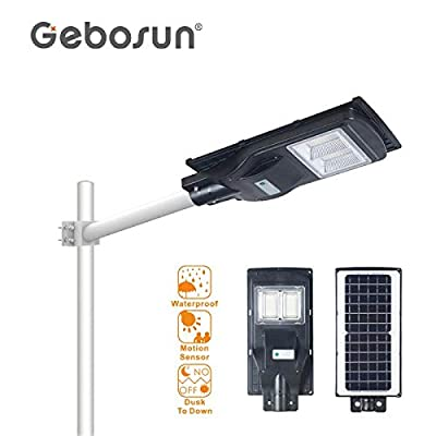 80W Solar Street Light Dusk to Dawn,Parking Lot Lights 8000mAH Iron Phosphate Battery LED Outdoor Lighting,6000Lm Light/PIR Motion Sensor for Garage,Patio,Garden,Driveway
