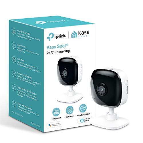 TP-Link Kasa Smart Sicherheitskamera, Baby-Monitor, CCTV, kein Hub erforderlich, Kompatibel mit Alexa (Echo-Punkt/Show&Fire TV), Google Home/Chromecast, 1080p, 2-Wege-Audio mit Nachtsicht (KC105)