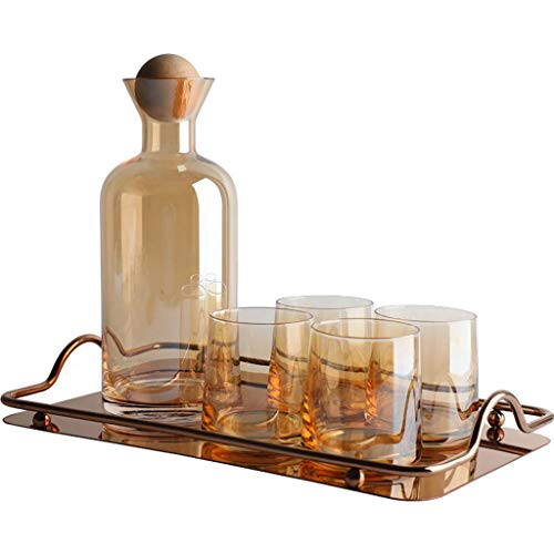 HXGL-Drum Glass Pitcher Set with 4 Mugs, Irregular Pattern Glass Borosilicate, Yellow Handle Silicone Lid, Hot and Cold Water Carafe, Beverage Pitcher Ice Tea Maker Juice Jar Lemonade Jug,1200ml