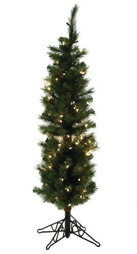 Special Happy Corp LTD Slim Aspen Pine Artificial Prelit Christmas Tree, 4-Feet, Clear Lights