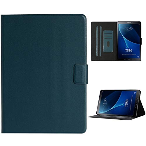 Tablet Protective Case For Samsung Galaxy Tab A 10.1 T580/T585 (2016) Solid Color Horizontal Flip Leather Case with Card Slots & Holder & Sleep/Wake-up Function (Color : Dark Green)