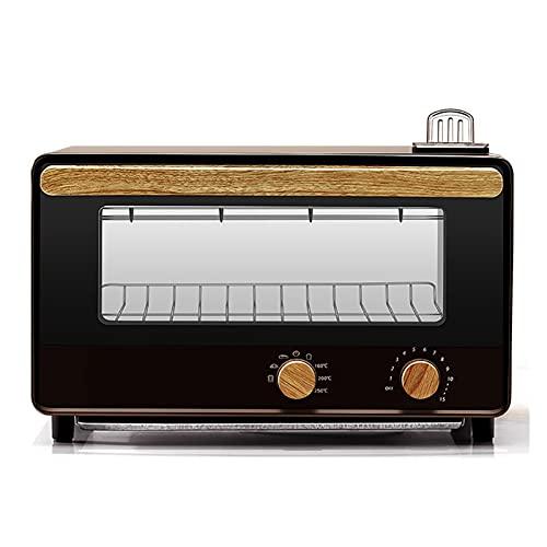 SHUBIAO Mini convezione tostapane Forno con Manico in Legno, Cucina tostapane con controsoffitto con controcorrente w/Multiple Temperatura, 6 fette, 6 funzioni di Cottura includono cuocere, cuocere