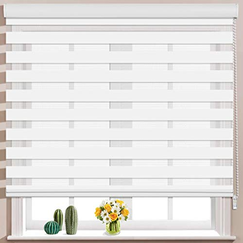 Keego Window Blinds Custom Cut to Size, White Zebra Blinds with Dual Layer Roller Shades, [Size W 34 x H 60] Dual Layer Sheer or Privacy Light Control for Day and Night