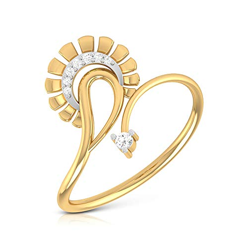 SGL Certified Diamond Flower Wedding Ring, Statement Women Open Gold Petal Ring, HI-SI Color Clarity Diamond Mixed Metal Ring, Unique Anniversary Ring, 14K Yellow Gold, Size:UK U
