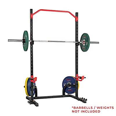 Sunny Health & Fitness Power Zone Squat Stand Rack Power Cage - SF-XF9931, Black/Red