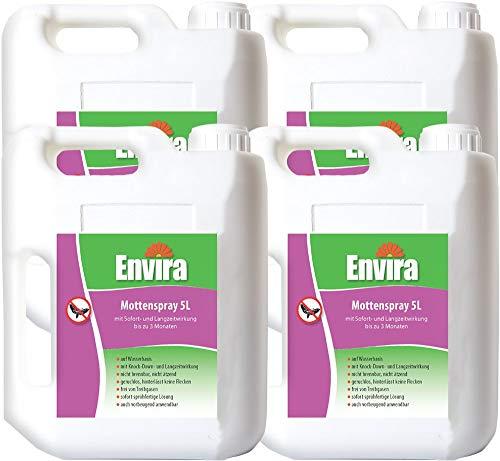 Envira Motten-Spray - Anti-Motten-Mittel Mit Langzeitwirkung - Geruchlos & Auf Wasserbasis - 4x5Ltr