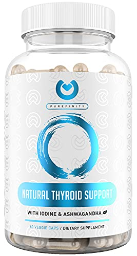 Thyroid Support Supplement with Iodine - Premium Energy, Adrenal, Metabolism, Focus, Weight Loss - Complex Vegetarian Formula with Vitamin B 12, Magnesium, Selenium, Ashwagandha - 60 Vegan Capsules.