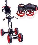 Upgrade Electric Golf Push Cart 4 Wheels Lightweight Folding Golf Trolley with Scorecard
