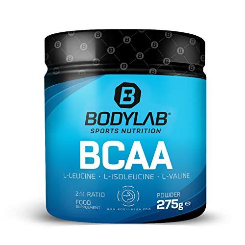 Bodylab BCAA powder, aminozuur zonder additieven, leucine, isoleucine en valine in de verhouding 2:1:1, hoog gedoseerd BCAA poeder voor spieropbouw, 275g