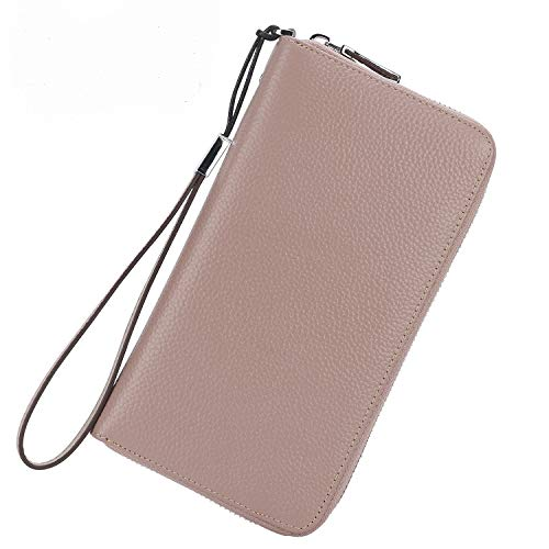 Lavemi Women's RFID Blocking Leather Zip Around Wallet Large Phone Holder Clutch Travel Purse Wristlet(Large Size Nude)