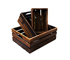 ✅ ESTHETIC: Fir Wood Crates, 3 nesting Sizes, coated in esthetic dark brown with exquisitely crafted! cutout grip handles. ✅ FLOAT ON WALL: The wood storage bins could also be refreshing home decor. It's wood crates for display, or use the wall mount...