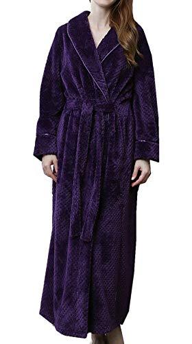 DSNOW Pyjama Femme Polaire Robe Chambre Longue Hiver Sortie de Bain Peignoir Pas Cher personnalisé Violet L