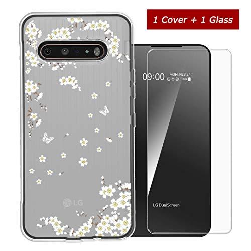 LYZX für LG V60 ThinQ 5G Hülle + Panzerglas Bildschirmschutzfolie Schutzfolie Gehärteter Glas Film 9H Semi-Transparent Silikon Flexibel TPU Crystal Schutzhülle Hülle Cover (6,8