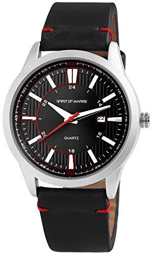 Spirit of Marine - Reloj de pulsera para hombre, analógico, con fecha, metal y piel sintética, mecanismo de cuarzo