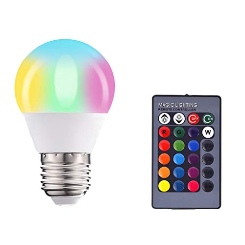 Fenteer LED E27 Glühbirne Farbwechsel Glühlampe Farbige Leuchtmittel mit Fernbedienung - 10W RGBW