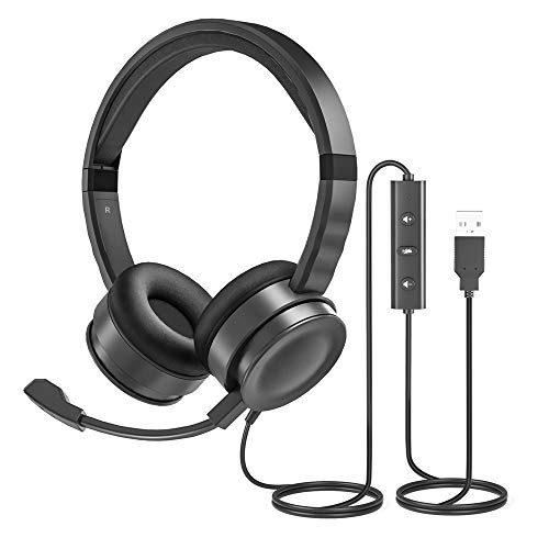 USB Computer Headset with Microphone for Laptop, UHURU PC Wired Headset with Mic Noise Cancelling Lightweight for Skype Zoom Webinbar Home Office Online Class Call Center