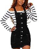 QitunC Mujer Vestido Peto Vaquero Denim Vestido Dungaree Monos Peto De Falda Talla Grande Negro L