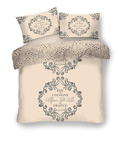 FAIRWAYUK Cream Bedding Set - Easy Care Script Paris Duvet Quilt Cover With 2x Pillowcase   Poly-Cotton   3 Piece   Double Size   200 x 200 cm