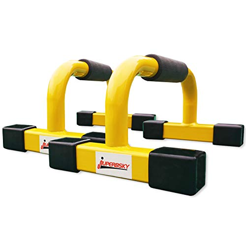 "Juperbsky Push-Up Stands Bars Parallettes Set for Workout Exercise (Yellow, 12""x 7""x 5.5"")"