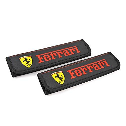 Ferrari seat Belt Covers Pads Shoulder for Adults Black Seatbelt Cover pad with Embroidered Ferrari Emblem Interior Accessories 2 pcs