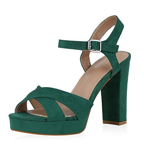 SCARPE VITA Mujer Sandalia de tacón con Plataforma 194825 Verde 37