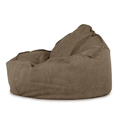LOUNGE PUG®, Mini-Mammoet' Zitzak Stoel, Bean Bag, Fauteuil Poef, Stonewashed Kaki