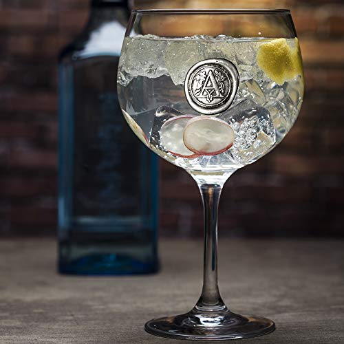 English Pewter Company Personalized Gin Glass With Your Choice of Initial (A) - Unique Gift For Men or Women, Birthdays, Anniversaries [MON301] (A)
