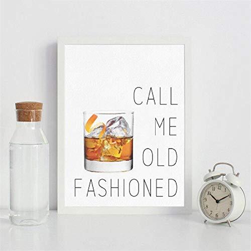 Bel me ouderwetse cocktail citaat kunst canvas schilderij poster bar muur foto print huis keuken decoratie 42x60cm (geen frame)