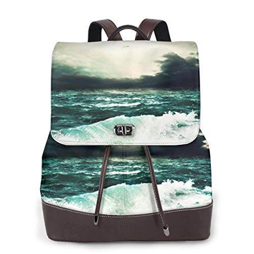 Women Leather Backpack Ocean View Storm Seascape, Schoolbag Casual Daypack School Travel Bag Satchel Laptop Backpacks for Women