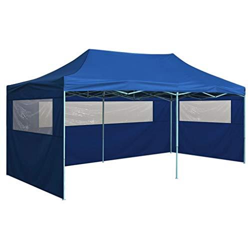 vidaXL Gazebo Professionale Pieghevole con 4 Pareti Finestre Trasparenti Tendone Tenda per Feste da Giardino 3x6m in Oxford PVC e Acciaio Blu