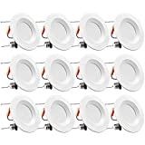 TORCHSTAR 12-Pack 5/6 Inch Dimmable LED Recessed Retrofit Downlight with Smooth Trim, Retrofit Recessed Lighting, 15W (120W Equiv.), CRI 90, JA8 & Title 24 & UL Listed, 1100lm, 2700K Soft White